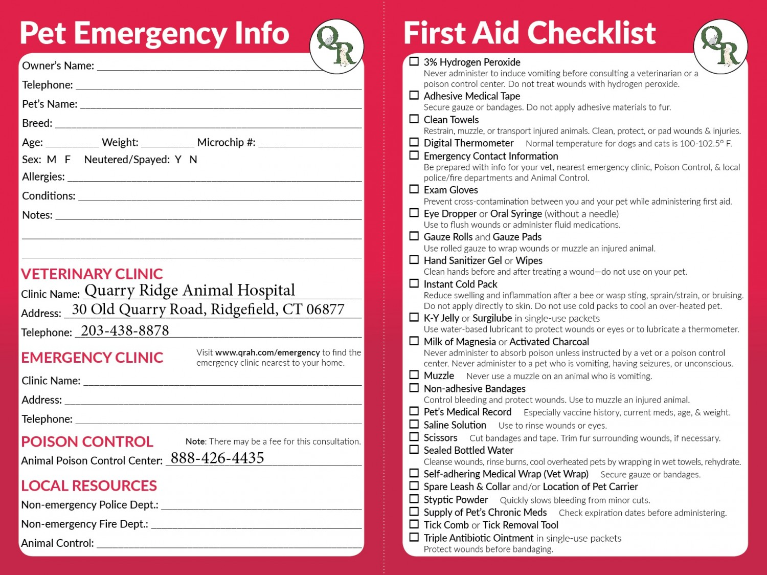 Pet Emergency Info Card and Pet First Aid Kit Checklist